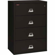 "Fireking Fireproof 4 Drawer Lateral File Cabinet - Letter-Legal Size 37-1/4""W x 22""D x 53""H - Black"