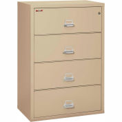 "Fireking Fireproof 4 Drawer Lateral File Cabinet - Letter-Legal Size 37-1/2""W x 22""D x 53""H - Putty"