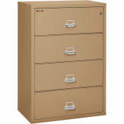 "Fireking Fireproof 4 Drawer Lateral File Cabinet - Letter-Legal Size 37-1/2""W x 22""D x 53""H - Sand"