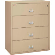 "Fireking Fireproof 4 Drawer Lateral File Cabinet - Letter-Legal Size 44-1/2""W x 22""D x 53""H - Putty"