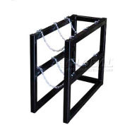 "Stainless Steel Cylinder Tube Rack, 1 Wide x 3 Deep, 16""W x 38""D x 30""H,3 Cylinder Cap."
