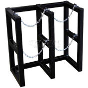 """Stainless Steel Cylinder Tube Rack, 2 Wide x 1 Deep, 30""""W x 16""""D x 30""""H,2 Cylinder Cap."""