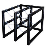 "Stainless Steel Cylinder Tube Rack, 2 Wide x 3 Deep, 30""W x 38""D x 30""H,6 Cylinder Cap."