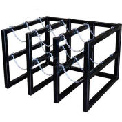 """Stainless Steel Cylinder Tube Rack, 3 Wide x 3 Deep, 44""""W x 40""""D x 30""""H,9 Cylinder Cap."""