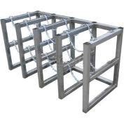"Stainless Steel Cylinder Tube Rack, 4 Wide x 2 Deep, 58""W x 26""D x 30""H,8 Cylinder Cap."