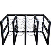 "Stainless Steel Cylinder Tube Rack,4 Wide x 3 Deep, 58""W x 38""D x 30""H,12 Cylinder Cap."