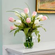 OfficeScapesDirect Mixed Tulip Silk Flower Arrangement - Pink/White