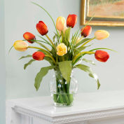 OfficeScapesDirect Mixed Tulip Silk Flower Arrangement - Red/Yellow
