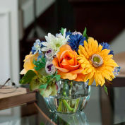 OfficeScapesDirect Gerbera Daisy, Rose & Cornflower Silk Flower Arrangement