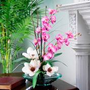 OfficeScapesDirect Magnolias & Orchids Silk Flower Arrangement - Champagne