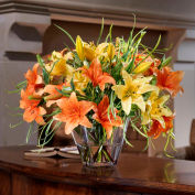 OfficeScapesDirect Mixed Day Lilies Silk Flower Arrangement - Orange/Yellow