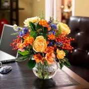 OfficeScapesDirect Coral & Blue Centerpiece Silk Flower Arrangement