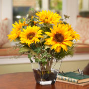 OfficeScapesDirect Sunflower Centerpiece Silk Flower Arrangement - Yellow