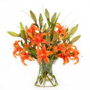OfficeScapesDirect Large Lily Centerpiece Silk Flower Arrangement - Orange