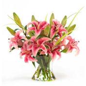 OfficeScapesDirect Large Lily Centerpiece Silk Flower Arrangement - Rubrum