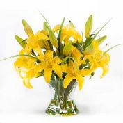 OfficeScapesDirect Large Lily Centerpiece Silk Flower Arrangement - Yellow