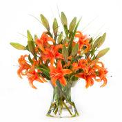OfficeScapesDirect Junior Lily Centerpiece Silk Flower Arrangement - Orange