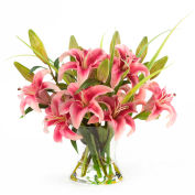 OfficeScapesDirect Junior Lily Centerpiece Silk Flower Arrangement - Rubrum