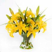 OfficeScapesDirect Junior Lily Centerpiece Silk Flower Arrangement - Yellow