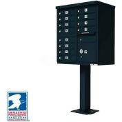 Vital Cluster Box Unit, 12 Mailboxes, 1 Parcel Locker, Black