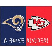 """Fan Mats NFL - St. Louis Rams/Kansas City Chiefs House Divided Rugs 34"""" X 45"""" - 15560"""