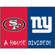 """Fan Mats NFL -San Francisco 49Ers/New York Giants House Divided Rugs 34"""" X 45"""" - 15596"""