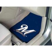 """MLB - Milwaukee Brewers - 2 Piece Carpeted Car Mat Set 17""""W x 27""""L - 6489"""