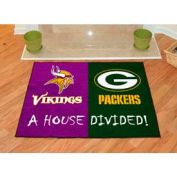 "Minnesota Vikings - Green Bay Packers House Divided Rug 34"" x 45"""