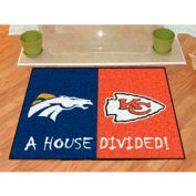 "Denver Broncos - Kansas City Chiefs House Divided Rug 34"" x 45"""