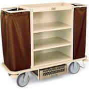 Forbes Steel Housekeeping Cart with Under Deck Shelf, Beige - 2107-BE