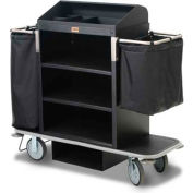 Forbes Steel Guest Room Attendant Cart w/Under Deck Shelf & Organizer, Black - 2120-EN