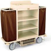 Forbes Steel Housekeeping Cart w/Under Deck Shelf & Organizer, Beige - 2148-BE