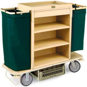 "Forbes Plastic Housekeeping Cart w/Under Deck Shelf & Drawer, 38""H, Tan - 2200-38-TN"