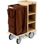 Forbes Plastic Compact Housekeeping Cart w/Under Deck Shelf, Tan - 2201-TN