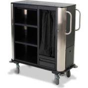Forbes Plastic Compact Suite Cart w/Stainless Steel Corners & Handles, Black - 2277-EN