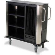 Forbes Plastic Suite Cart w/Stainless Steel Corners & Handles, Black - 2279-EN