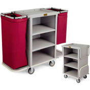 Forbes Compact Plastic Housekeeping Cart w/Folding Handles & Platforms, Gray - 2292-GY