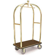 "Forbes Birdcage Bellman Cart 2426-GY-BK Brass, Gray Carpet, Black Bumper, 8"" Rubber"