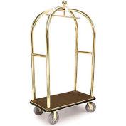 "Forbes Birdcage Bellman Cart 2426-GY-BK Brass, Gray Carpet, Black Bumper, 8"" Rubber"