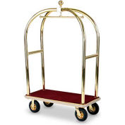"Forbes Birdcage Bellman Cart 2428-BU-BE Brass, Burgundy Carpet, Beige Bumper, 8"" Pneumatic"