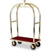"""Forbes Birdcage Bellman Cart 2428-BU-BE Brass, Burgundy Carpet, Beige Bumper, 8"""" Pneumatic"""