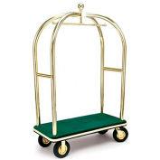 """Forbes Birdcage Bellman Cart 2437-GN-BE Brass, Green Carpet, Beige Bumper, 8"""" Pneumatic"""