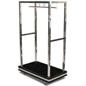 "Forbes Deluxe Bellman Cart 2505DB-BK-BK Stainless, Black Carpet, Black Bumper, 8"" Rubber"
