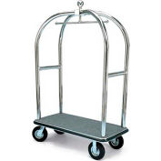"Forbes Birdcage Bellman Cart 2528-GY-BK Stainless Steel, Gray Carpet, Black Bumper, 8"" Pneumatic"