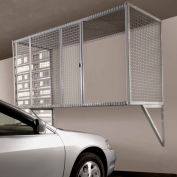 Folding Guard Garage Storage Locker WM833 Wall Mount With Sliding Door 8'W x 3'D x 3'H, Machine Gray
