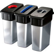 Vileda Professional 18 Gallon Geo-Metallic Bin Large, Metallic, 4/cs - 137661