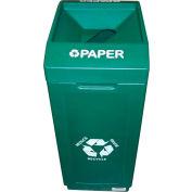 Forte 39 Gallon Open Top Plastic Recycle Bin - Paper, Green - 8001837