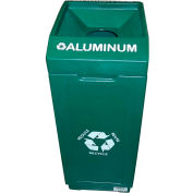 Forte 39 Gallon Open Top Plastic Recycle Bin - Aluminum, Green - 8001841
