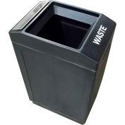 Forte 39 Gallon Sidekick™ Open Top Waste Container w/Ashtray, Black - 8002044
