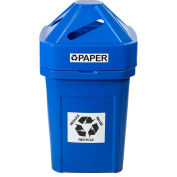Forte 45 Gallon Plastic Recycle Bin for Bottles & Cans, The Burly™, Blue - 8002817